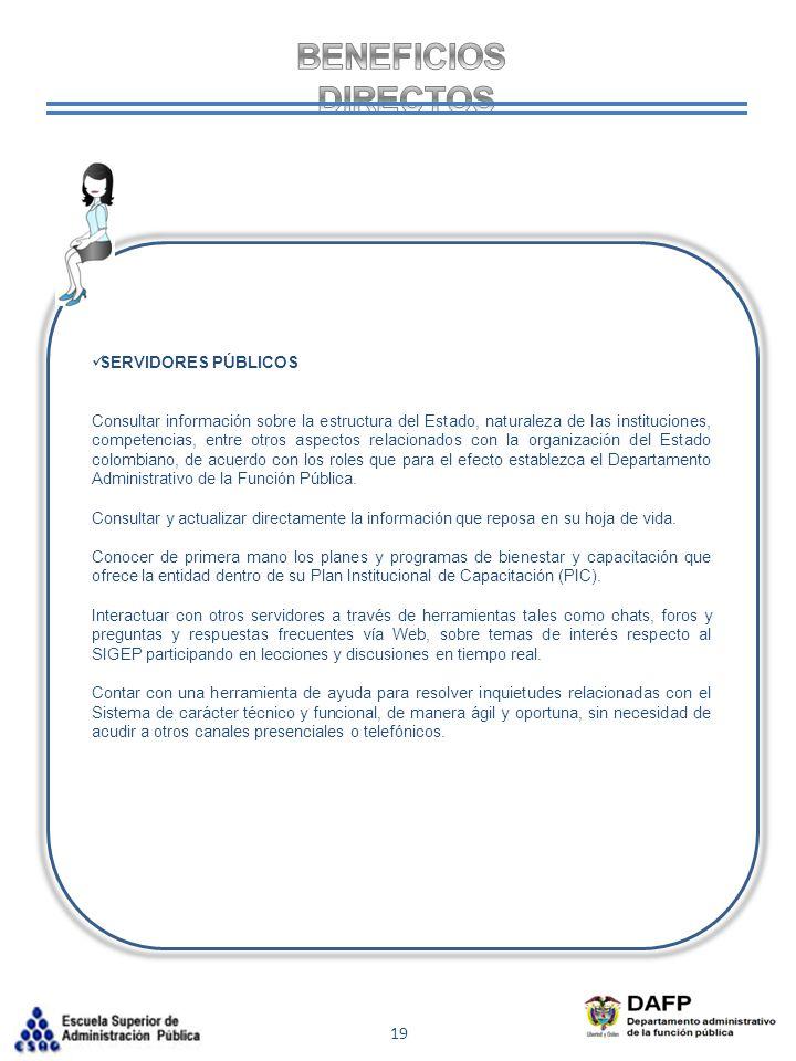 BENEFICIOS DIRECTOS SERVIDORES PÚBLICOS