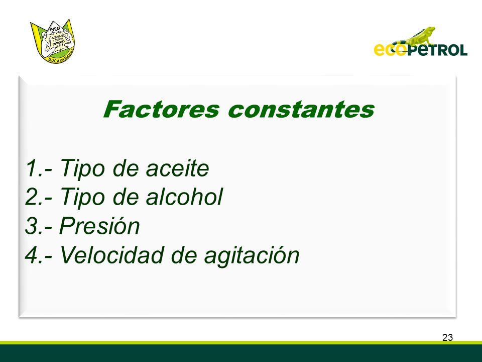 Factores constantes 1.- Tipo de aceite 2.- Tipo de alcohol 3.- Presión 4.- Velocidad de agitación