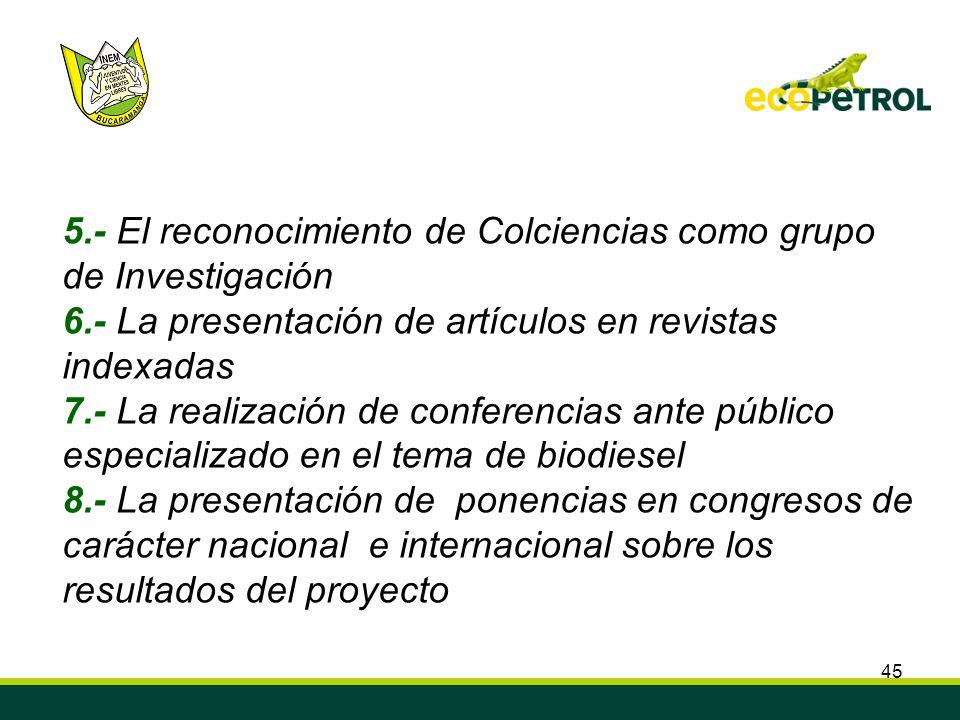5.- El reconocimiento de Colciencias como grupo de Investigación