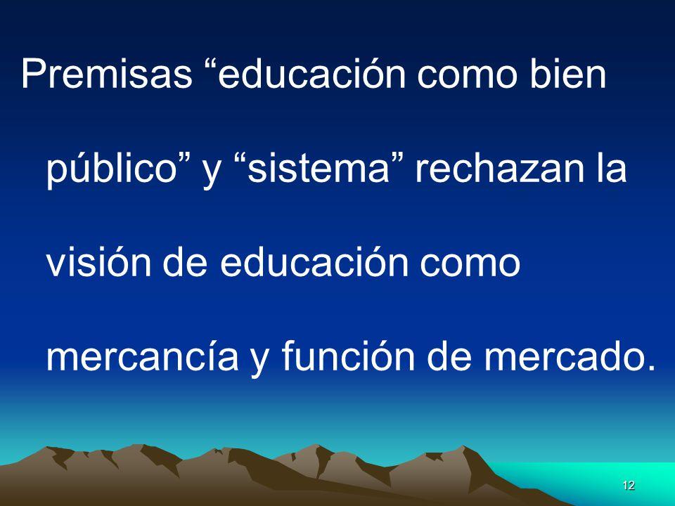 Premisas educación como bien público y sistema rechazan la visión de educación como mercancía y función de mercado.