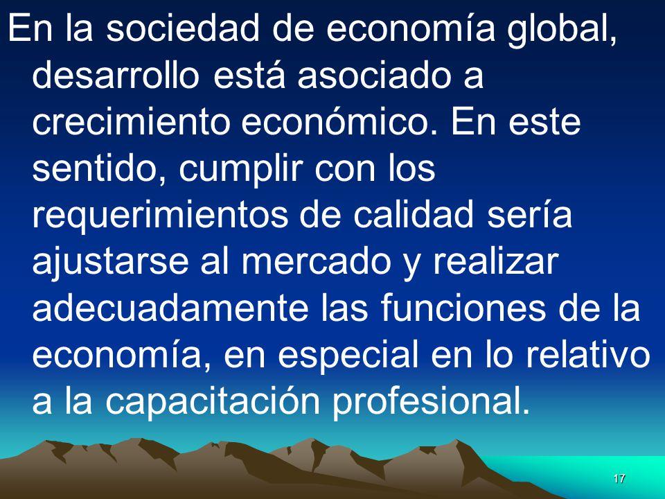 En la sociedad de economía global, desarrollo está asociado a crecimiento económico.