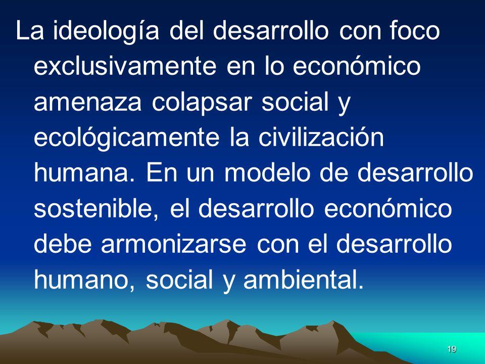 La ideología del desarrollo con foco exclusivamente en lo económico amenaza colapsar social y ecológicamente la civilización humana.