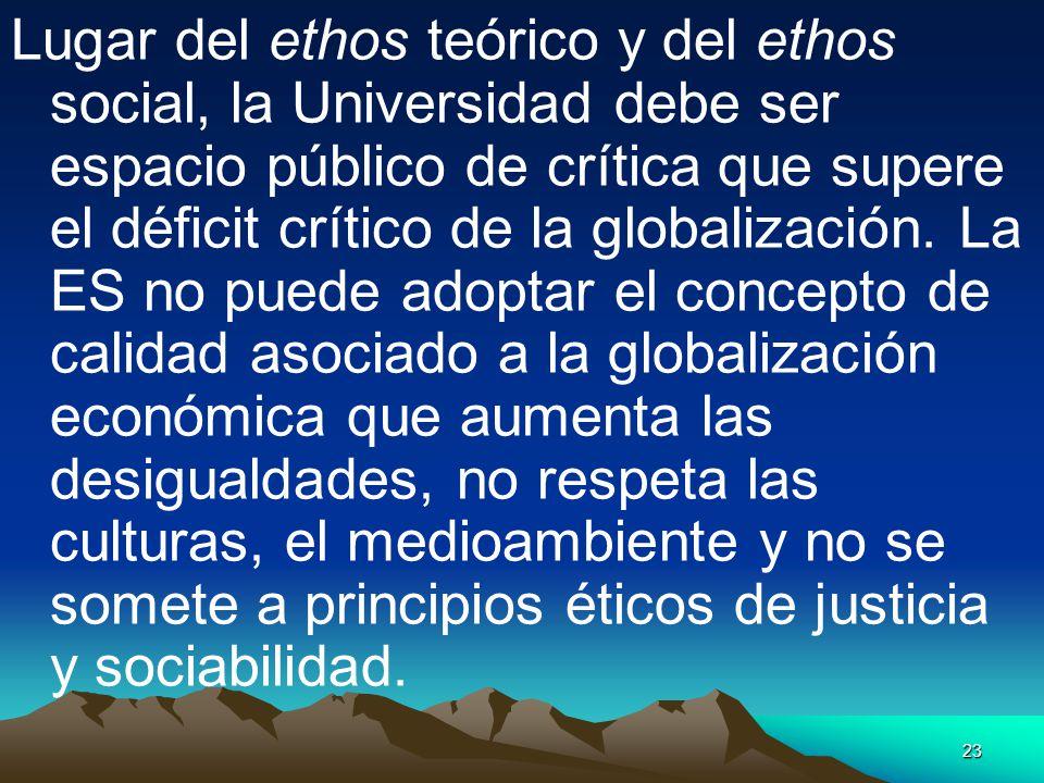 Lugar del ethos teórico y del ethos social, la Universidad debe ser espacio público de crítica que supere el déficit crítico de la globalización.