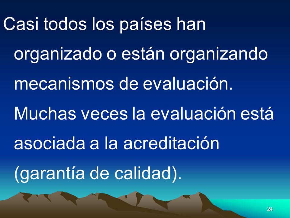 Casi todos los países han organizado o están organizando mecanismos de evaluación.