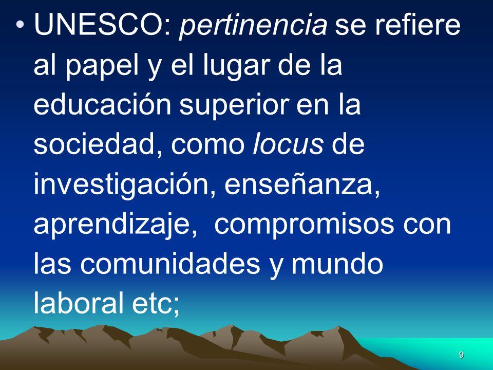 UNESCO: pertinencia se refiere al papel y el lugar de la educación superior en la sociedad, como locus de investigación, enseñanza, aprendizaje, compromisos con las comunidades y mundo laboral etc;