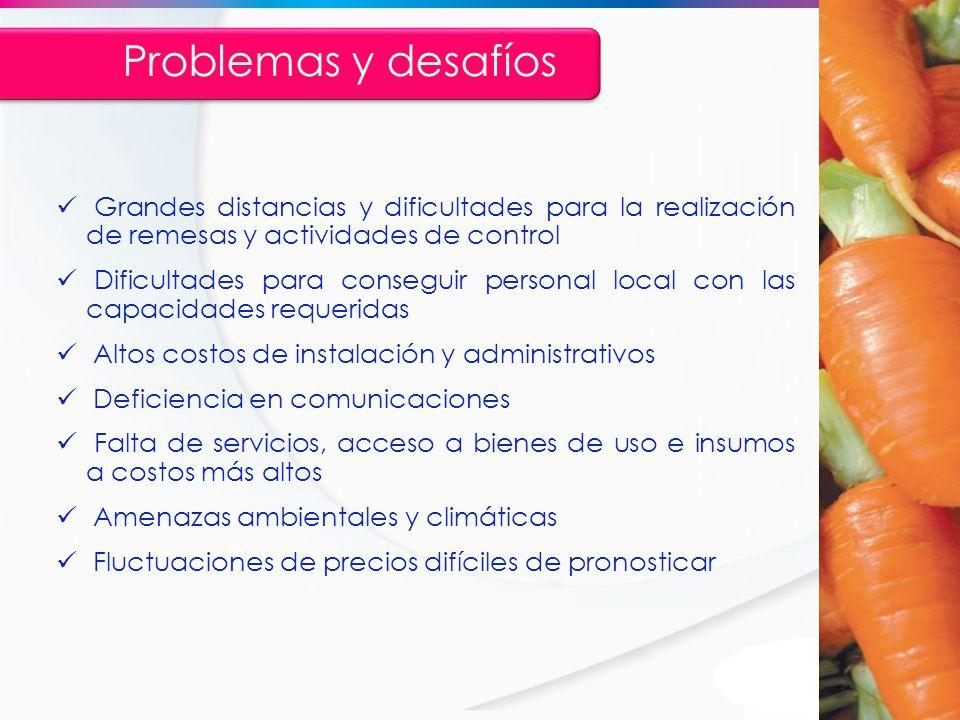 Problemas y desafíos Grandes distancias y dificultades para la realización de remesas y actividades de control.