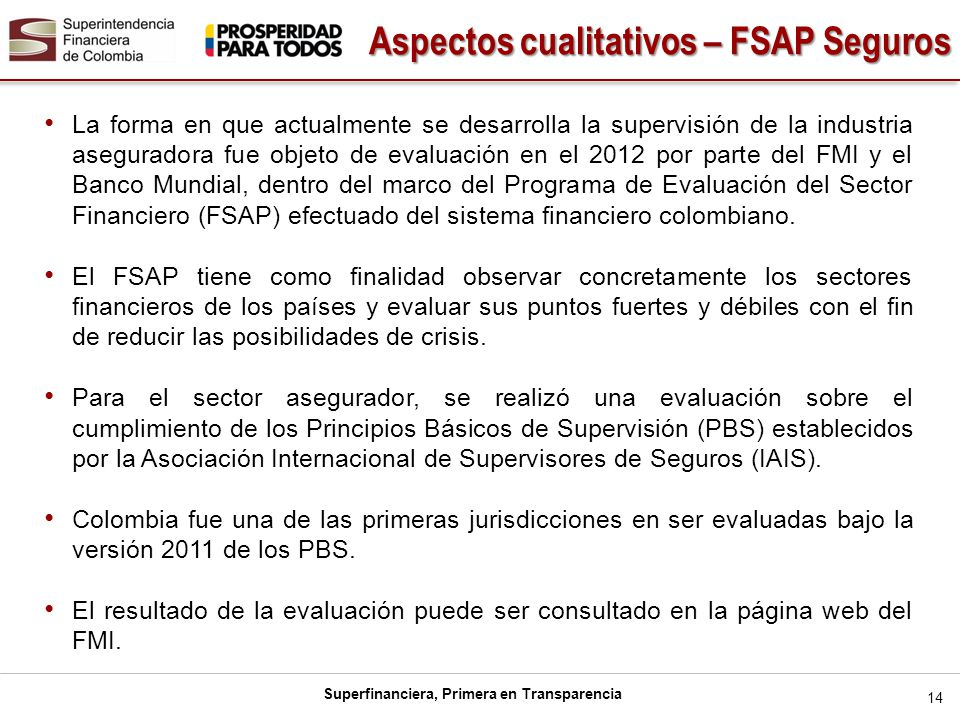 Aspectos cualitativos – FSAP Seguros