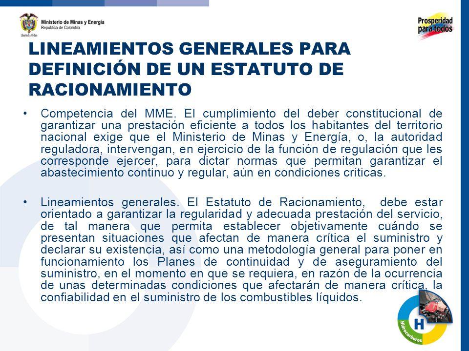 LINEAMIENTOS GENERALES PARA DEFINICIÓN DE UN ESTATUTO DE RACIONAMIENTO