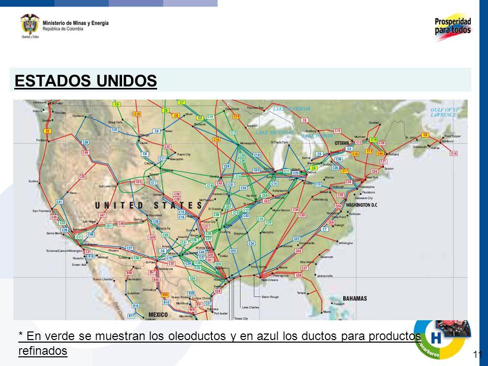 ESTADOS UNIDOS * En verde se muestran los oleoductos y en azul los ductos para productos refinados