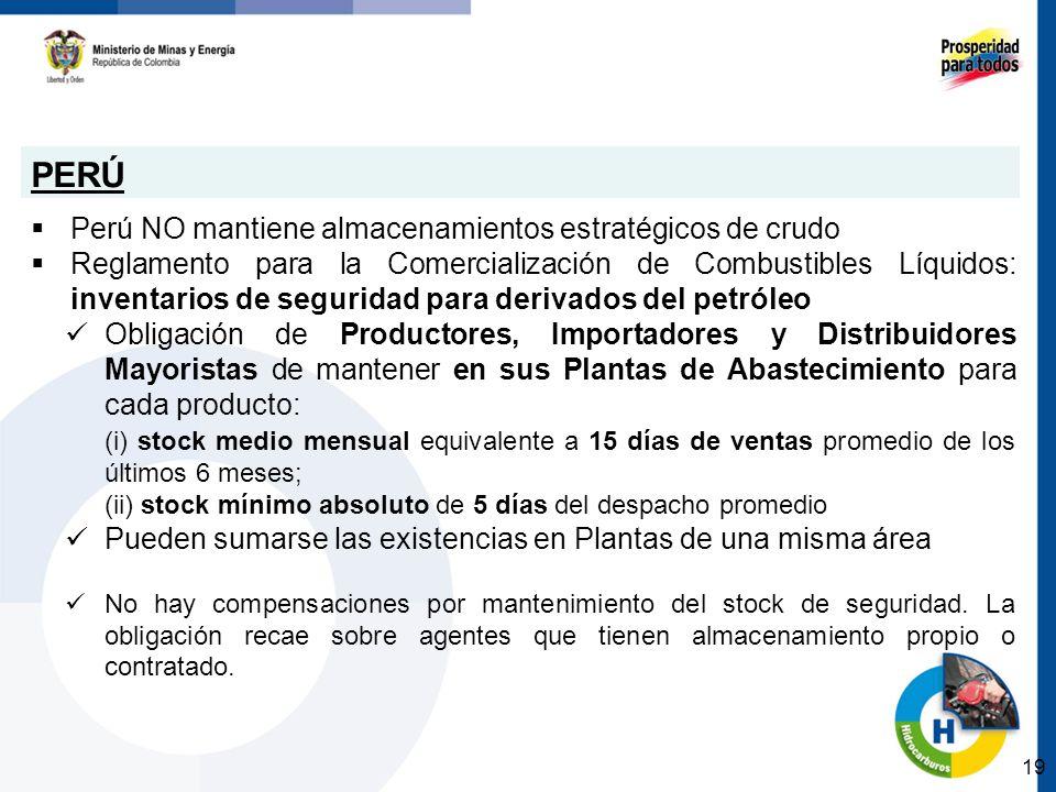 PERÚ Perú NO mantiene almacenamientos estratégicos de crudo