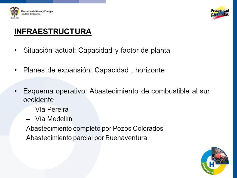 INFRAESTRUCTURA Situación actual: Capacidad y factor de planta