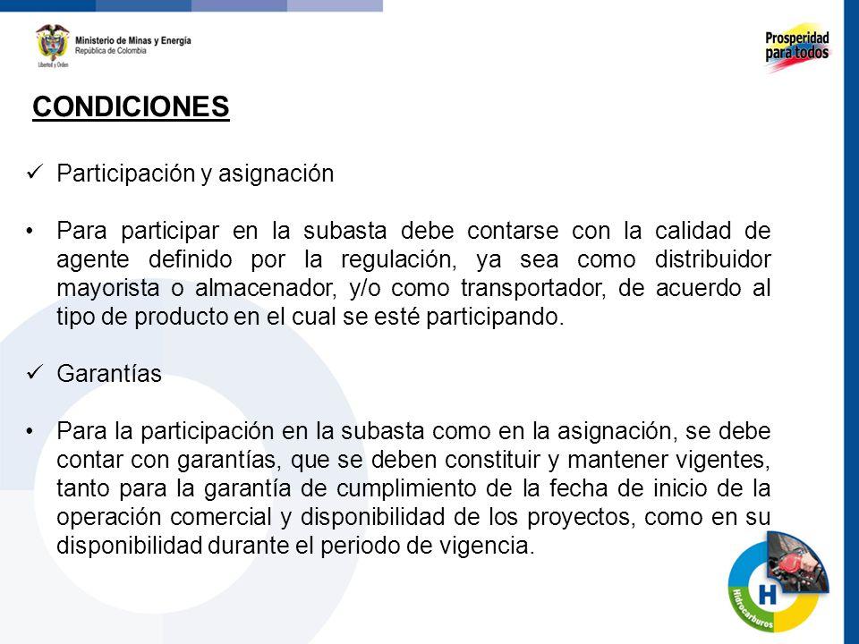 CONDICIONES Participación y asignación