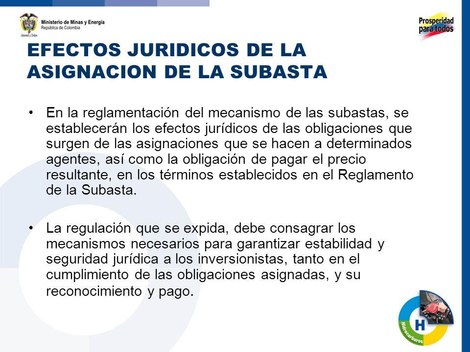 EFECTOS JURIDICOS DE LA ASIGNACION DE LA SUBASTA