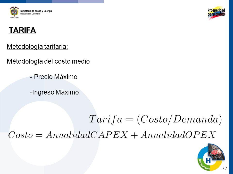 Tarifa Metodología tarifaria: Métodología del costo medio