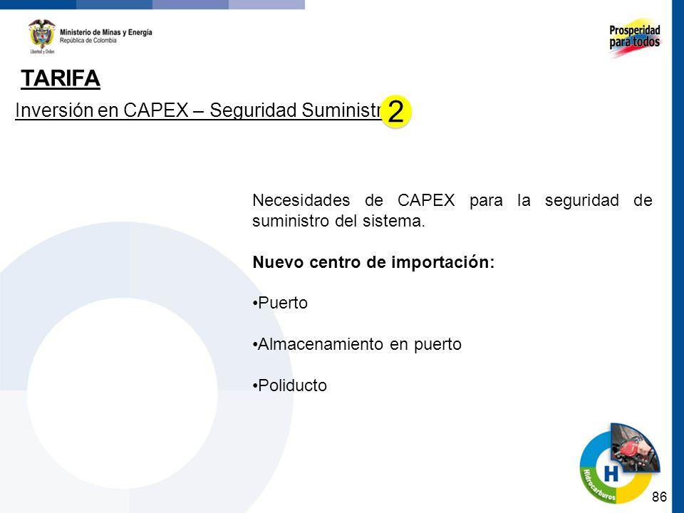 2 Tarifa Inversión en CAPEX – Seguridad Suministro