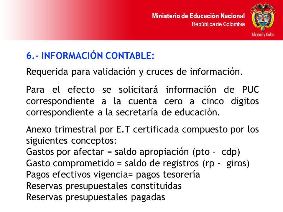 6.- INFORMACIÓN CONTABLE: