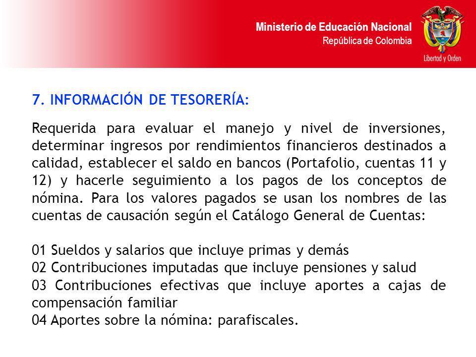 7. INFORMACIÓN DE TESORERÍA:
