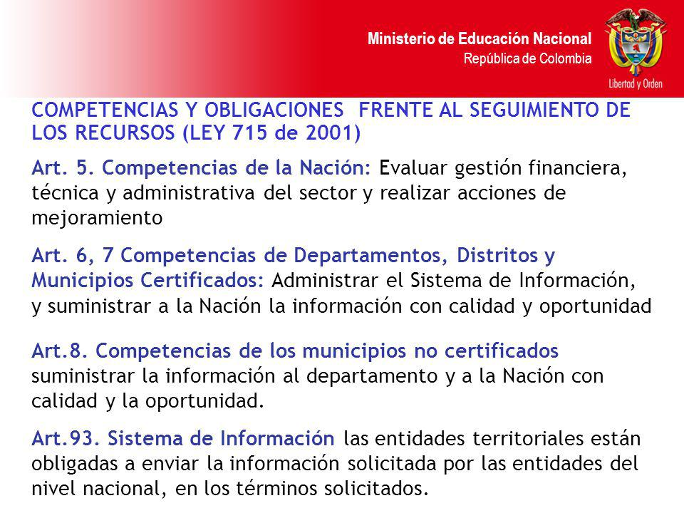 COMPETENCIAS Y OBLIGACIONES FRENTE AL SEGUIMIENTO DE LOS RECURSOS (LEY 715 de 2001)