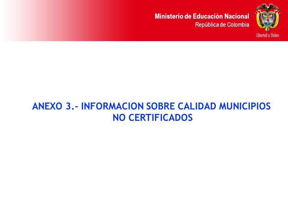 ANEXO 3.- INFORMACION SOBRE CALIDAD MUNICIPIOS