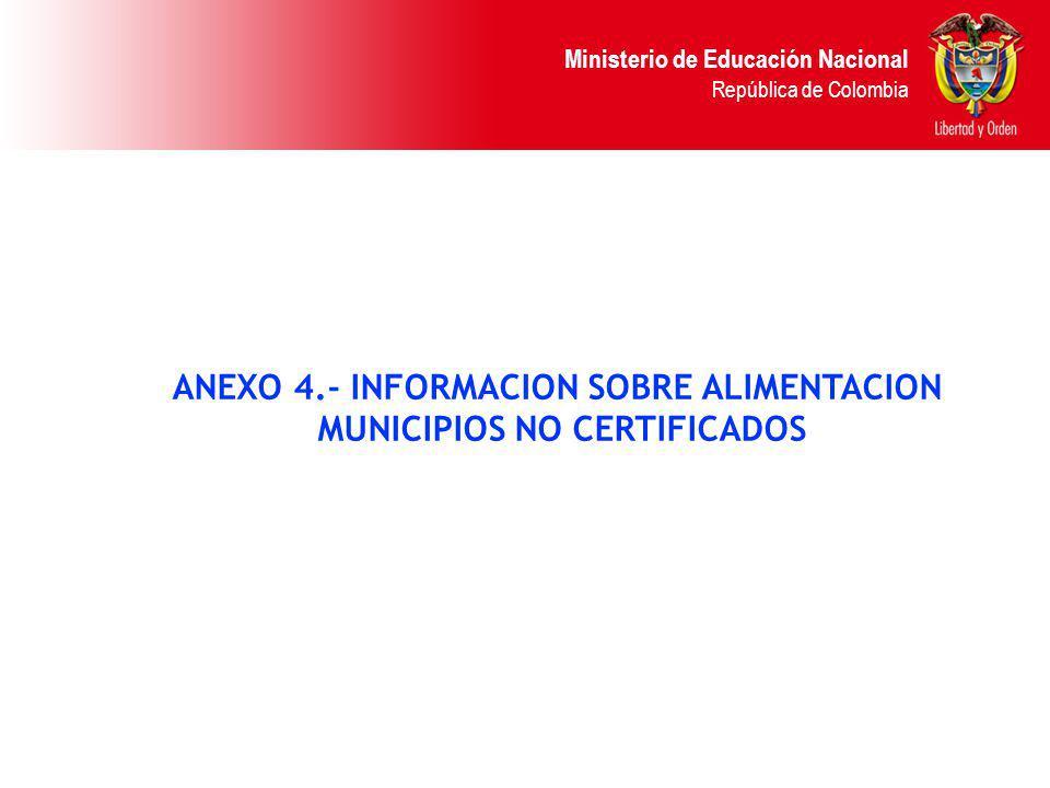 ANEXO 4.- INFORMACION SOBRE ALIMENTACION MUNICIPIOS NO CERTIFICADOS