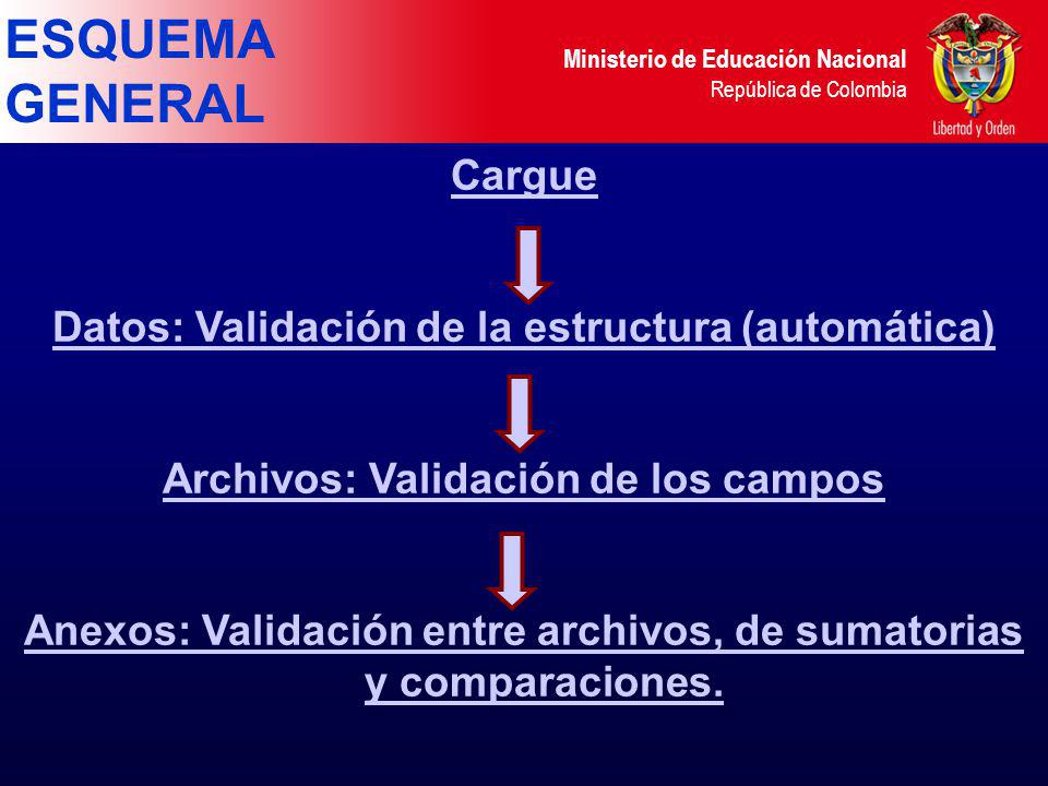 ESQUEMA GENERAL Cargue Datos: Validación de la estructura (automática)