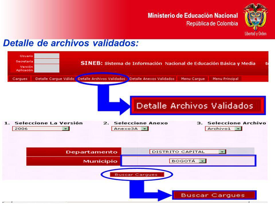 Detalle de archivos validados: