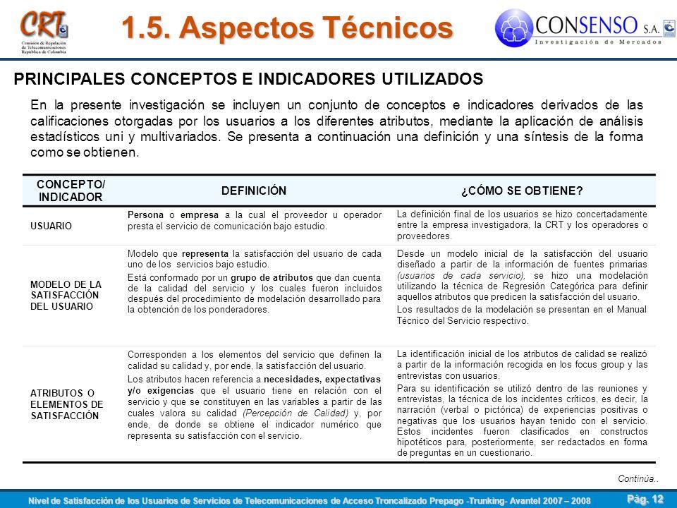 1.5. Aspectos Técnicos PRINCIPALES CONCEPTOS E INDICADORES UTILIZADOS