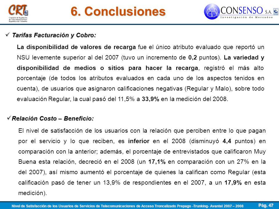 6. Conclusiones Tarifas Facturación y Cobro: