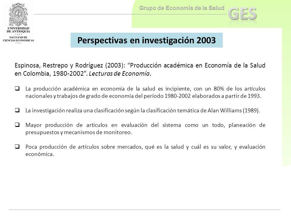 Perspectivas en investigación 2003
