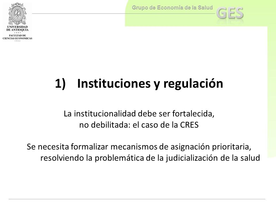 Instituciones y regulación