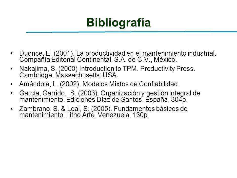 BibliografíaDuonce, E. (2001). La productividad en el mantenimiento industrial. Compañía Editorial Continental, S.A. de C.V., México.