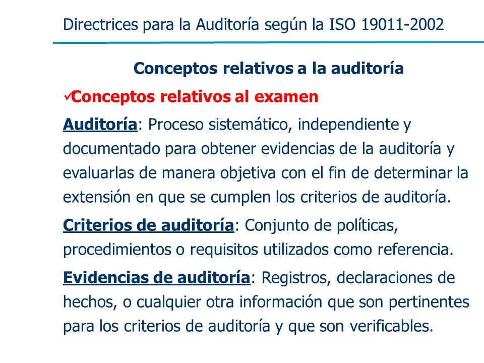 Conceptos relativos a la auditoría
