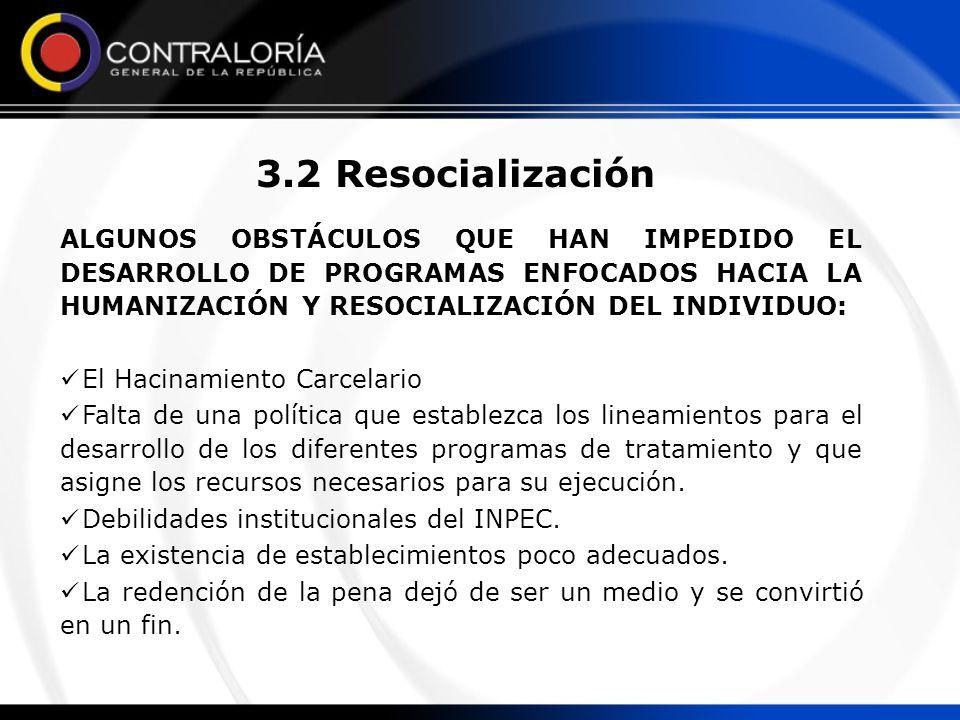 3.2 Resocialización ALGUNOS OBSTÁCULOS QUE HAN IMPEDIDO EL DESARROLLO DE PROGRAMAS ENFOCADOS HACIA LA HUMANIZACIÓN Y RESOCIALIZACIÓN DEL INDIVIDUO: