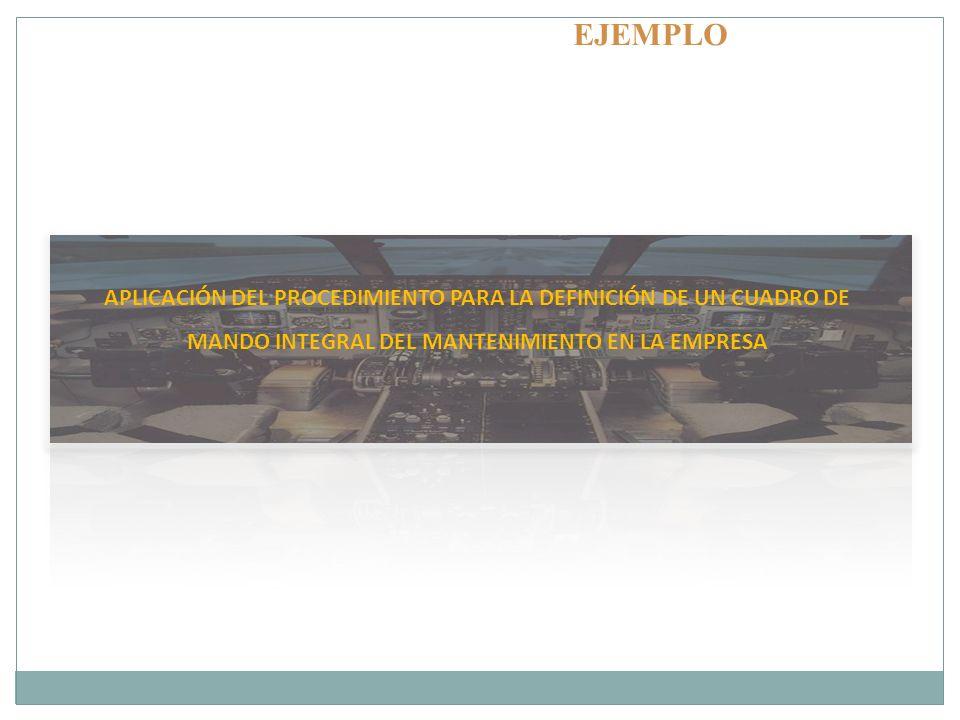 EJEMPLO APLICACIÓN DEL PROCEDIMIENTO PARA LA DEFINICIÓN DE UN CUADRO DE MANDO INTEGRAL DEL MANTENIMIENTO EN LA EMPRESA.