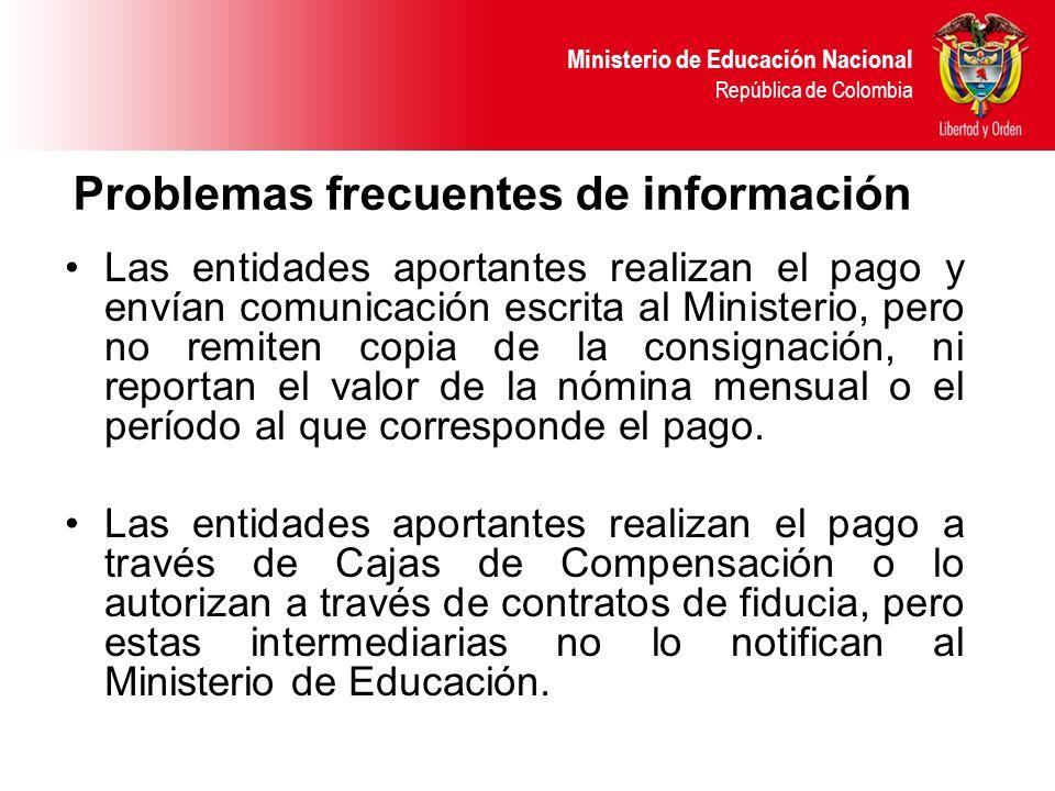 Problemas frecuentes de información