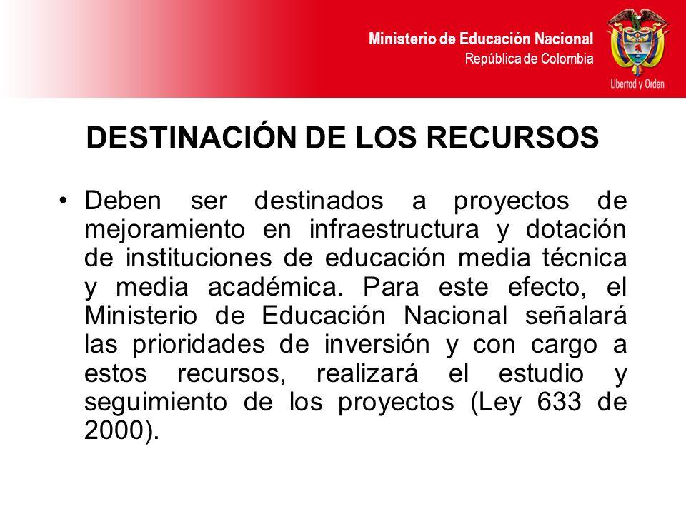 DESTINACIÓN DE LOS RECURSOS