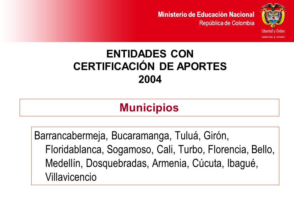 ENTIDADES CON CERTIFICACIÓN DE APORTES 2004