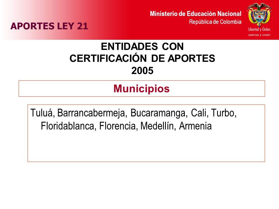 ENTIDADES CON CERTIFICACIÓN DE APORTES 2005