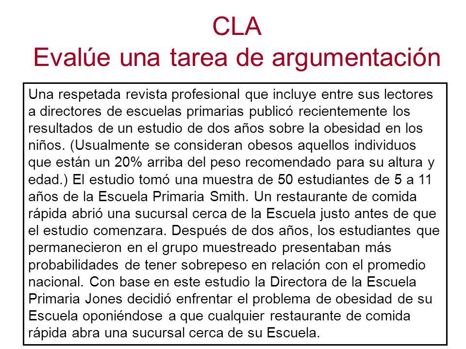 CLA Evalúe una tarea de argumentación