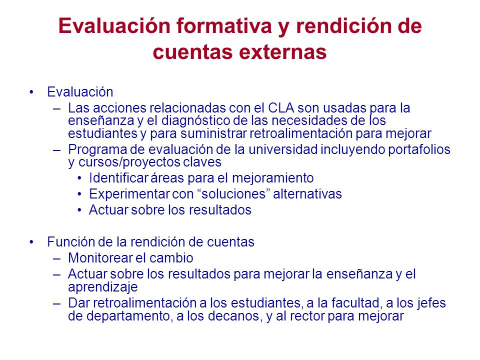 Evaluación formativa y rendición de cuentas externas