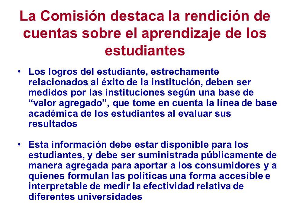 La Comisión destaca la rendición de cuentas sobre el aprendizaje de los estudiantes