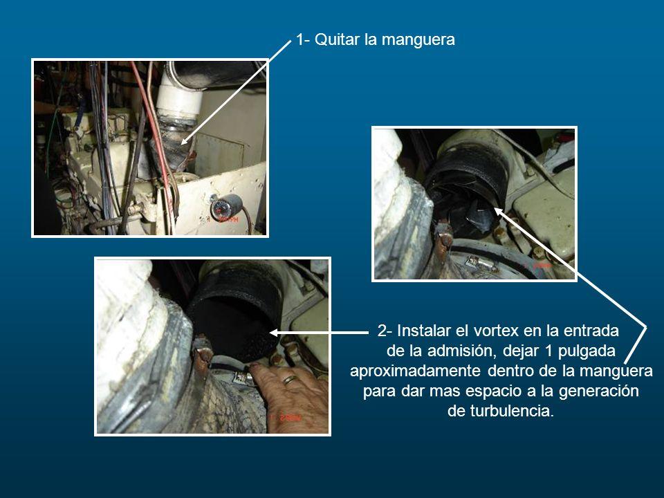 2- Instalar el vortex en la entrada de la admisión, dejar 1 pulgada