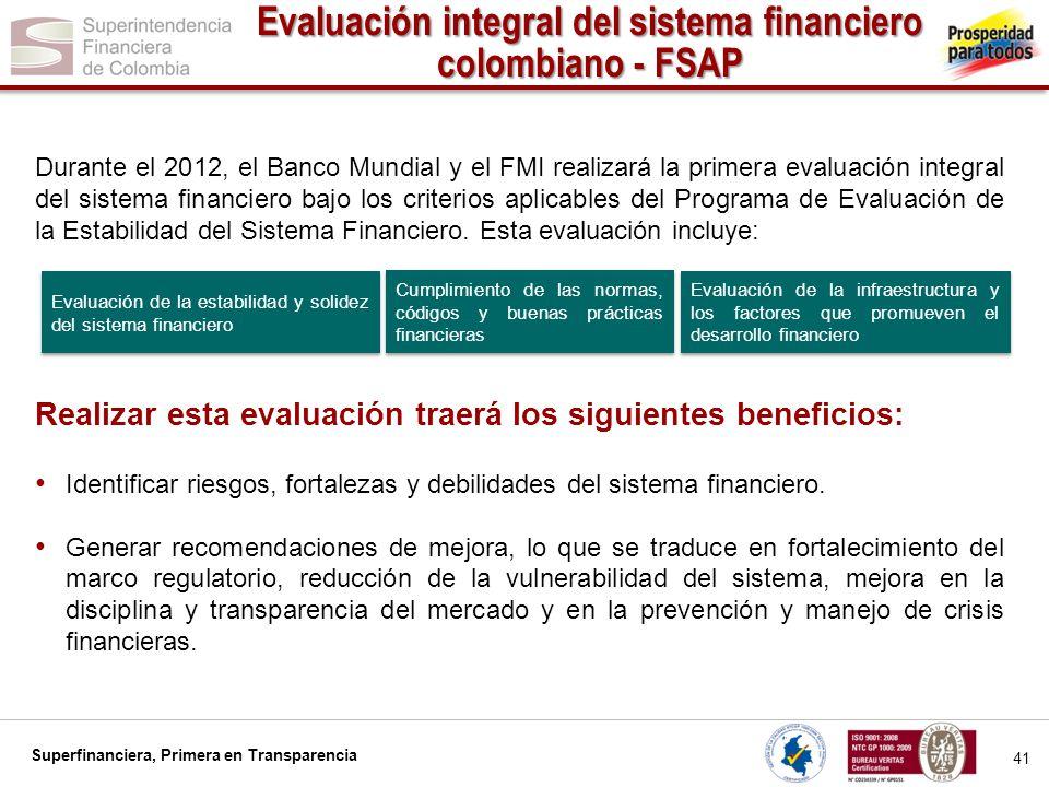 Evaluación integral del sistema financiero colombiano - FSAP