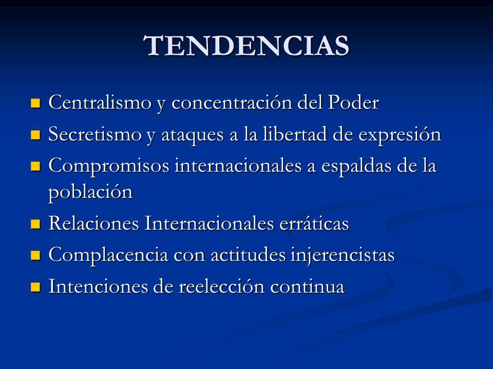 TENDENCIAS Centralismo y concentración del Poder