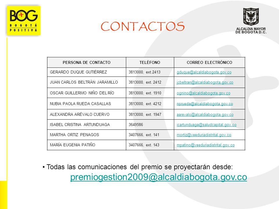 CONTACTOS premiogestion2009@alcaldiabogota.gov.co