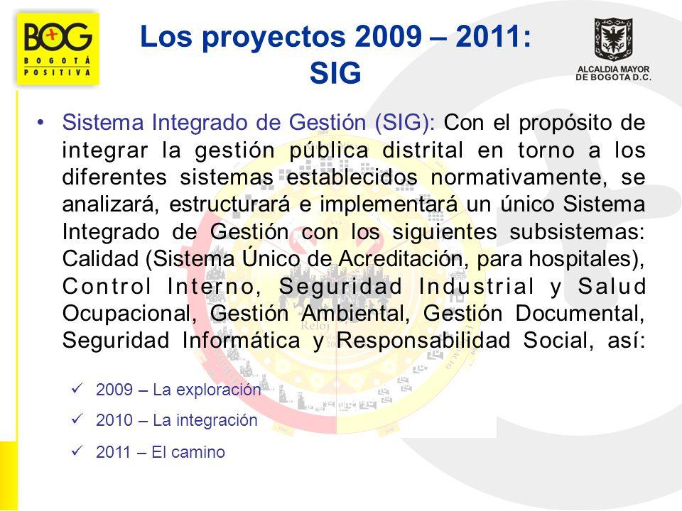 Los proyectos 2009 – 2011: SIG