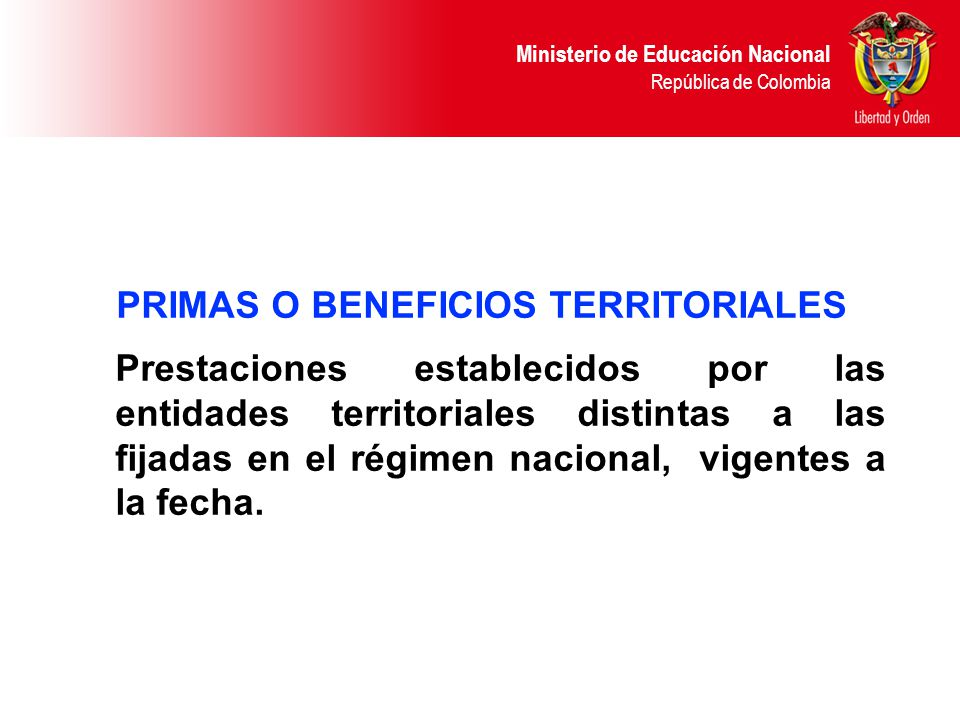 PRIMAS O BENEFICIOS TERRITORIALES