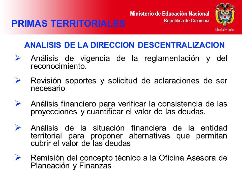 PRIMAS TERRITORIALES ANALISIS DE LA DIRECCION DESCENTRALIZACION