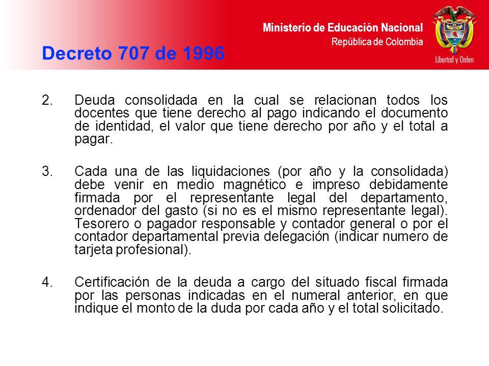 Decreto 707 de 1996