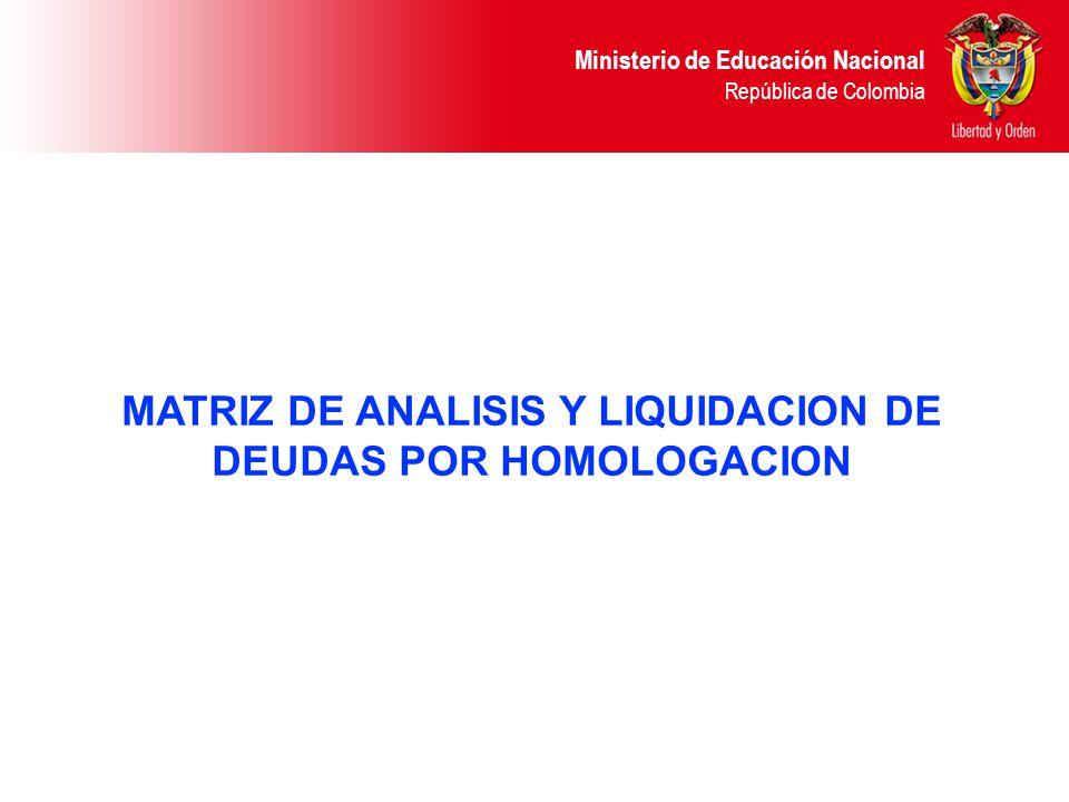 MATRIZ DE ANALISIS Y LIQUIDACION DE DEUDAS POR HOMOLOGACION